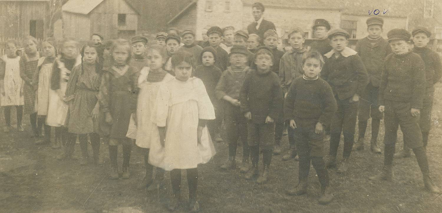 Photograph of school class at Clayton Ontario, about 1909.