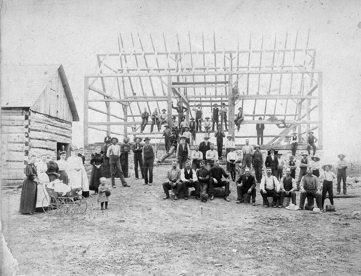 North Elmsley Township, Ontario. Barn construction.