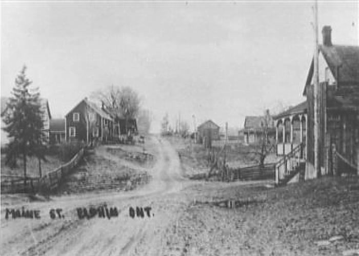 Photograph of downtown Elphin, Ontario, about 1900.