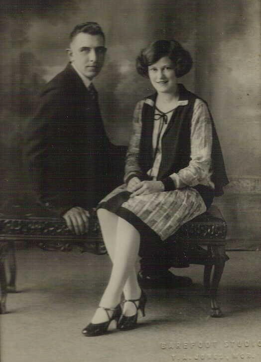 Wedding photo of George Gordon and Hilda Beatty at Elphin Ontario, 1926.