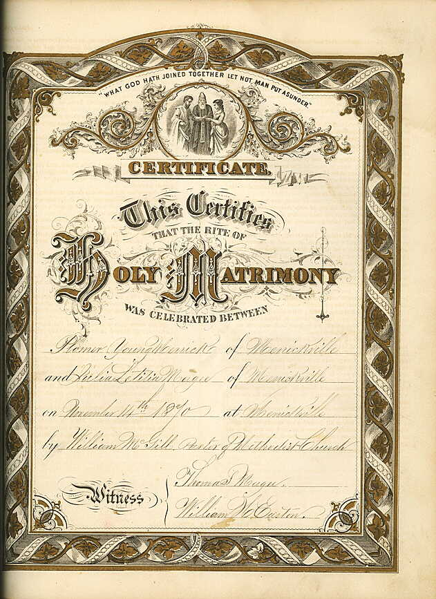 Marriage certificate of Plomer Young Merrick and Julia Letitia Magee