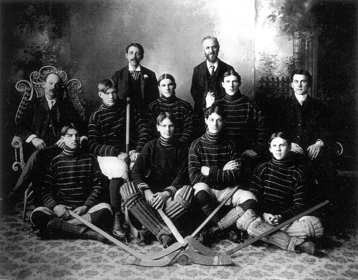 Photograph of a men's hockey team, 1903-1904, Merrickville, Ontario, Canada