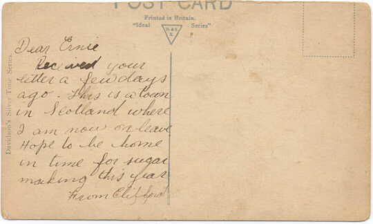 Postcard to Ernie, signed Clifford