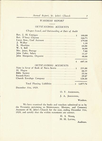 Page 7 of Saint John's Church, Smiths Falls, 1929 Annual Report.