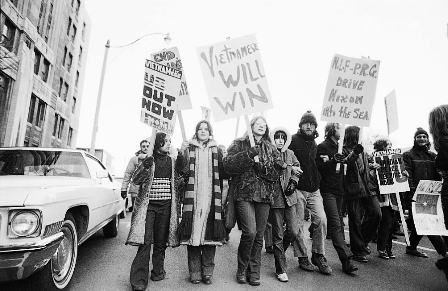 Anti-Vietnam War demonstration, 1972 or 1973, Toronto.